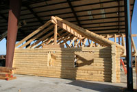 left side gable view preassembled in log yard