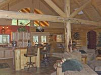 interior kitchen dining truss view