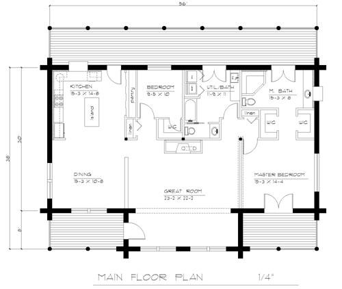 Floor pland for the main floor of the Juniper House Design