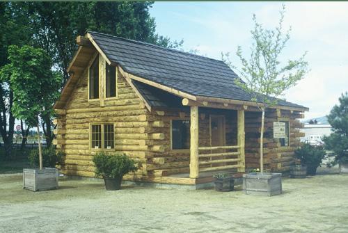 Cub bear log cabin model by homestead log homes for Homestead cabin plans